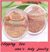 2014 new style Glitter Liquid Ear Gauge Plugs Flesh Tunnel Piercing Body Jewelry Ear plug free shipping F85 mix6~16mm120pcs/lot