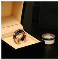Luxury Black / White Ceramic Whorl Rings/ Rose Gold Stainless steel Women / Men Jewelry