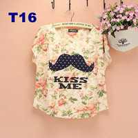 Loral 2014 New Women t shirt cotton Polka Dot mustache girls novelty printed tshirt loose women top tees T16