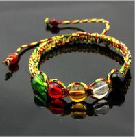 New! ! Wholesale Tibetan Color Gold Line Crystal Bead Weave Bracelets Women Gift Handmade Original Ethnic Shambhala Jewelery