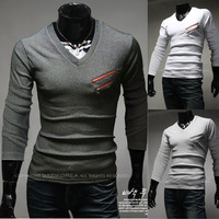 NEW Stylish Slim Fit Casual fashion long sleeve Men Top Cloth Double  fake pocket  BT09
