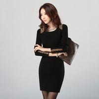 Fashion Winter Dress long-sleeve casual dress slim hip solid leather & button decoration black women work wear plus size D607