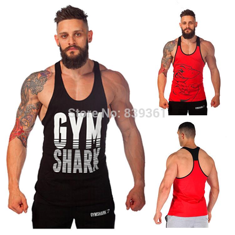 GymShark Fitness Tank Top Men Stringer Gym Shark Bodybuilding Muscle Shirt Workout Vest Cotton Sport Undershirt Plus Size Clothe(China (Mainland))