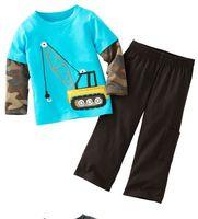 children outerwear clothing set, boys clothes children t-shirt set  blue crane camouflage .100% cotton free ship  F0321