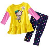 free ship Retail baby girl clothes ,girl clothing set  . yellow monkey T-shirt long short, dot colors pants children clothes set