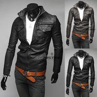 Hot Sale!2014 Autumn Winter New style  men's leather jacket Korean catwalks shall Slim leather jacket PU high quality BPY18