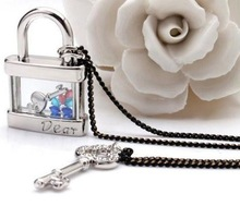 Korea long necklace crystal love letter key lock and lovely personality tide models N309 B12