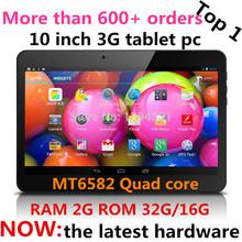 10 дюймов MTK6582 WCDMA 3 г телефон планшет pc оперативной памяти 2 г ROM 16 г четырехъядерных процессоров ( а8 ) 1.4 ГГц андроид 4.4 3 г планшет GPS bluetooth с 2 SIM карты(China (Mainland))