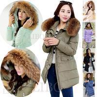 Women Fur Collar Duck Down Coat Hooded Jacket  Warm hoodie Elegant outwear Parka overcoat  parka quilted jacket puffer jacket