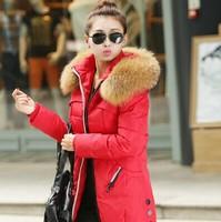 2014 winter Thickening plus size large fur collar medium-long women's slim outerwear down coat female snow coats jackets
