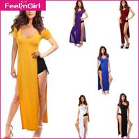 2014 Summer Dress Multi Colors Beach Long Dress High Split Bohemian Maxi Dress Short Sleeve Party  Dresses Alibaba Express 2