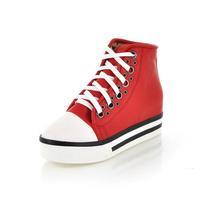 2014 New Fashion Pu Platform Sneakers for Women High Top Women Platform Shoes Round Toe Lace Up Women Sneakers Free Shipping