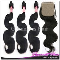Free Shipping Human Hair With Closure Body Wave 3 Bundles Hair Extensions And 1pc Silk Base Closure Cheap Brazilian Hair Weaving