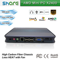 high definition amd single core 1.5G CPU mini pc htpc X2400,supports full hd 1080P video,comes with four usb