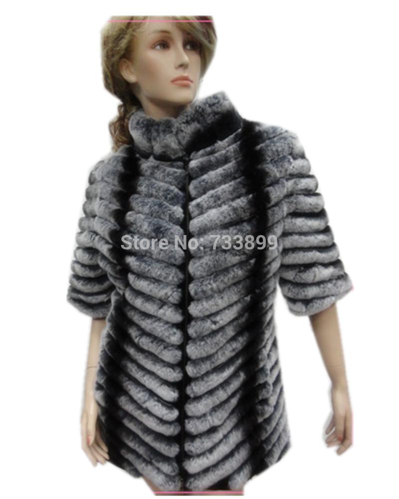 C148216_Fashion 2014 Fall winter warm fur coat of natural rex rabbit fur, long plus size half sleeve color chinchilla fur coat(China (Mainland))