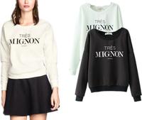 Fast/Free Shipping New 2014 Fashion Ladies European All-match Casual Letter Sweatshirt Hoodies Women Hoody Autumn Clothing 8