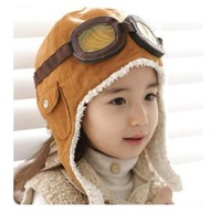 children boys lovely cotton winter keep warm flight Pilot Earflap bomber hats  kids outdoor Aviator glasses caps, black brown