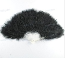 1PC 21 Staves Black Elegant Folding Feather Hand Fan Marabou Feather Plastic Hand Fan AE01119(China (Mainland))