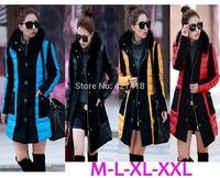 2014 New Brand Fashion Clothing Fur Collar Zipper Long Style PU Leather Women Down Coat 4 Color Winter parkas coat Size L-XXL