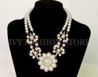ZH0949 Fashion Women Crystal  Flower Pearl Bead Bib Choker Flower Necklace pendant