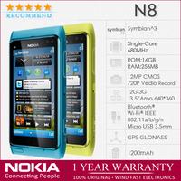 "N8 Original Nokia n8 16GB Unlocked Smart Mobile Phone 3.5"" Capacitive Touch screen 3G WIFI GPS 12MP Refurbished"