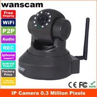 Plug and play M-JPEG 0.3 Million pixels infrared alarm32G TF Card  P2P head indoor wireless WiFi network IP camera JW0012  biack