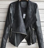 Women Leatther Jackets Slim pu Leather Motorcycle Jacket Sleeve Zipper Turn Dow Long Jacket Coat  punk style New Arrival 2014