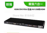 Free shipping&wholesale 1PCS HDMI/DVI/VGA/Ypbpr/AV RCA all video to HDMI converter scaler 3D&full HD1080p suported