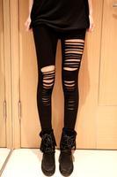 Free Shipping TOP Fashion Women Sexy Broken Holes Destroyed Leggings Punk Pants Black
