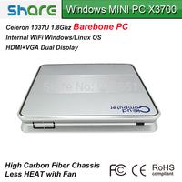 Barebone PC Intel 1037U dual core 1.8GHz mini computer X3700 built-in USB/HDMI/VGA/LAN port support 1080P HD video