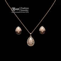 TFOZT ! Classic Rhinestones Paved Stellux Austrian Water drop Pendant Necklace Stud Earrings Sets G Wedding Jewelry HXTZ 10035