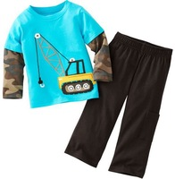 child clothing set, boys clothes children t-shirt set  blue crane camouflage .100% cotton 12M - 6Y sizes  A003