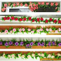 2x Artificial Flower Garland Home Wall Party Decoration Sitting Room Rose Vines 2.4m Silk simulation Flower Green Leaf Vine