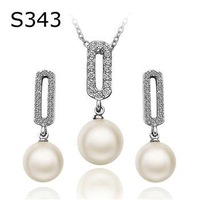 PS343 Wholesale fine 100% Real S925 pure Sterling silver Opal - drop necklace earrings jewelry set