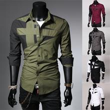 Free shipping mens t shirts fashion 2014 Arrival Korean Style Men's Long Sleeve Shirts Candy Color Shirt Plus Size M-XXXL(China (Mainland))