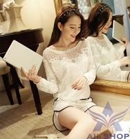2014 Long Sleeve Shirt Women Shirts Top Plus Size Casual White Chiffon Lace Blouses Dress Renda Camisa Blusas Femininas 04947