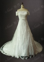 Elegant Tulle A Line Lace And Applqiues Short Sleeve Zipper Chapel Train  Wedding Dress Bridal Gown