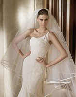 2014 Wholesale Simple 3 Meters Long Tulle Wedding Veils With CombTwo Layer Ribbon Edge Wedding accessories Hot Sale