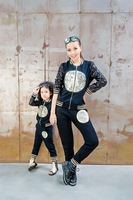 2014 Autumn New Arrival Family PU Paillette Patchwork Fashion Mother And Daughter Family Clothing Set