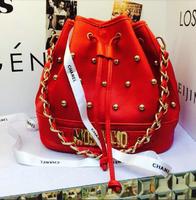 2014 New Mcdonalds Bucket Bag Fashion Women Handbags Chain Bag Rivet Shoulder Bag Letter Mos Messenger Bags Tassel BAG