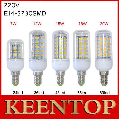 Super Bright E14 SMD5730 LED Lamps 7W 12W15W 18W 20W 24LED 36LED 48LED 56LED 69LED Corn Bulbs Solar Wall Lights Crystal Pendant()