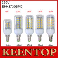 Super Bright E14 SMD5730 LED Lamps 7W 12W15W 18W 20W 24LED 36LED 48LED 56LED 69LED Corn Bulbs Solar Wall Lights Crystal Pendant