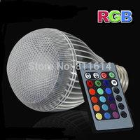 Free shipping 2 pcs/lot E27 RGB LED BULB 9W AC 230V 240V 110V 220V led Bulb Lamp with Remote Control color change led lighting