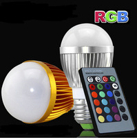 Free Shipping 3W E27 Remote Control 16 Color RGB LED Bulb Light 16 Color Changed Spotlight CE RoHS High Lumen RGB LED Bulb Light