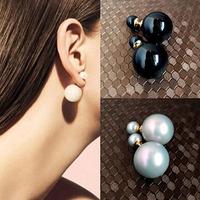 JD 2139 free shipping  2014 new style fashion double pearl earrings elegant  lady stud earrings