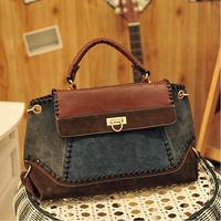 High Quality 1Pcs Women Handbag Retro Denim Splicing Messenger Bag EuropeStyle Leather Shoulder Crossbody Bags EJ840125