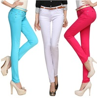 Candy color pencil pants slim skinny elastic jeans pants casual long trousers multicolour free shipping