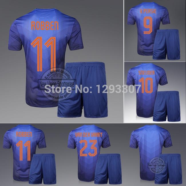 2014 Embroidery Blue Away Robben Van Persie Sneijder Football Kit Uniform Men Sports Shirt Outfit Soccer Jersey Set(China (Mainland))