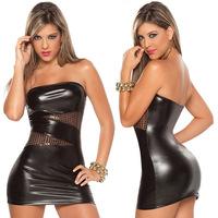 Hot Women Black Sexy Leather Latex Club Wear Costumes Lingerie Catsuits Cat Suits Evening Dress Uniform