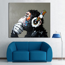 Decorative Art Handmade Oil Painting On Canvas Living Room Home Decor Wall Paintings Thinking Orangutan Animal Pictures(China (Mainland))